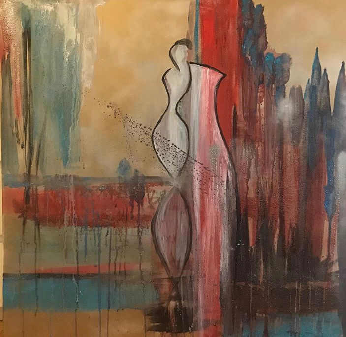 """Painting titled """"Lady in red"""" by Erfiart, Original Art, Acrylic"""