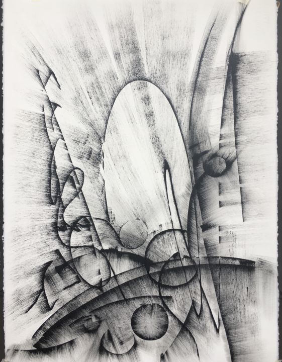 Black and white abstract drawing 3 2018 drawing 22x30x0 1 in