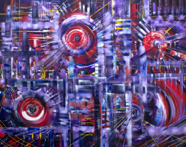 Purple Fantasy - Painting,  48x60x1.5 in, ©2016 by Khrystyna Kozyuk -                                                                                                                                                                                                                                                                                                                                                                                                                                                                                                                                                                                                                                                                                                                                                                                                                                                                                                                                                                                                                                                                                              Abstract, abstract-570, Abstract Art, Colors, Fantasy, Science-fiction, abstract art, decor, wall art, fine art, acrylic on canvas, oil painting, original artwork, colorful painting, color abstract, gallery art, dream, purple, spectrum, fantasy, vibrant, circle, geometric