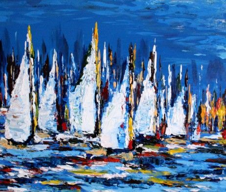 Boat Show - Painting,  16x20x1.5 in, ©2016 by Khrystyna Kozyuk -                                                                                                                                                                                                                                                                                                                                                                                                                                                                                                                                                                                                                                                                                                                                                                                                                                                                                                                                                                                                                                                  Abstract, abstract-570, Abstract Art, Boat, Seascape, Ships, Yacht, fine art, decor, wall art, abstract art, acrylic on canvas, oil painting, original artwork, colorful painting, color abstract, gallery art, boat abstract, seascape, Regatta, yachts, boats racing