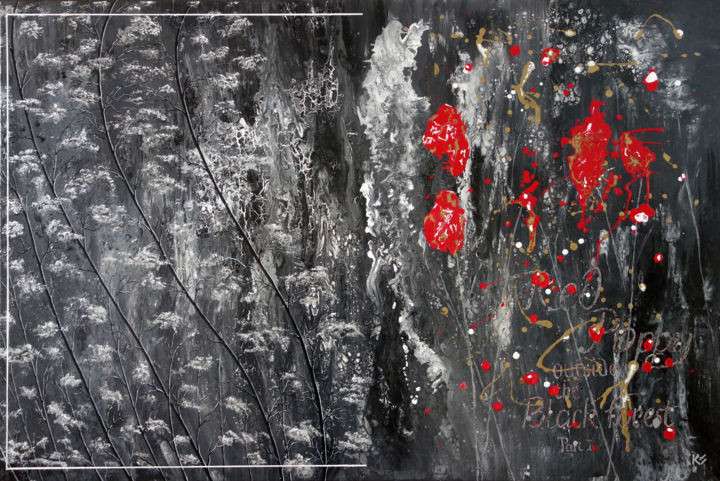 Red Poppy outside Black Forest - Painting,  80x120x3 cm ©2019 by Kurt Saghi -
