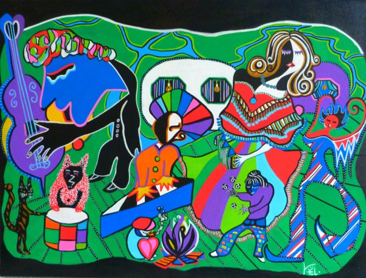 Saltimbanques - Painting,  45x60x1 cm ©2016 by Kaël -                                                                    Figurative Art, Naive Art, Contemporary painting, Men, saltimbanques, acrobates, forain, spectacle