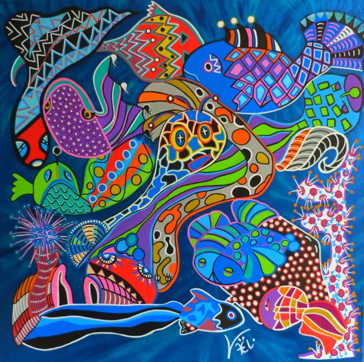 Les irradiés - Painting,  70x70x1 cm ©2019 by Kaël -                                                                                Naive Art, Contemporary painting, Abstract Art, Pop Art, Animals, poissons, rayons, mer, anémone, irradier