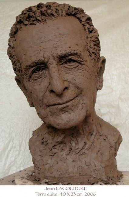 Jean LACOUTURE - Sculpture,  15.8x9.1 in, ©2006 by KAINOU -                                                                                                                                                                                                                                                                                                                                                                                                                                                      Figurative, figurative-594, Portraits, Buste Jean Lacouture, Sculpture Jean Lacouture, Portrait Jean Lacouture, Jean Lacouture, Clay bust, Clay portrait