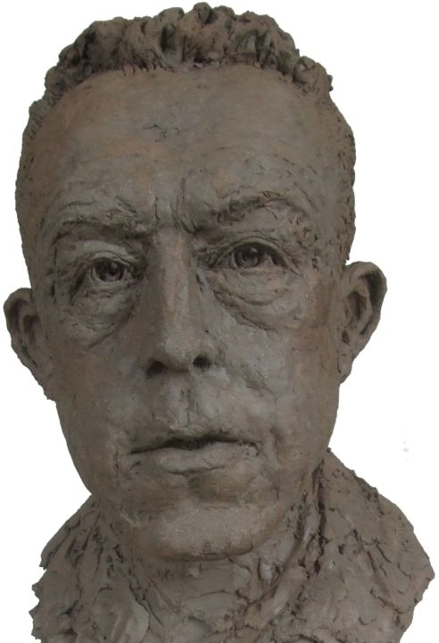 Albert CAMUS - Sculpture,  23.6x13.8x18.1 in, ©2013 by KAINOU -                                                                                                                                                                                                                                                                                                                                                                                                                                                      Figurative, figurative-594, Portraits, Buste Albert Camus, Sculpture Albert Camus, Portrait Albert Camus, Albert Camus, Clay bust, Clay portrait