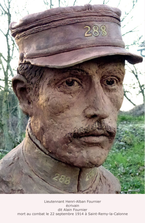 Alain FOURNIER - Sculpture,  18,5x11,8x13,4 in, ©2014 par Kainou -                                                                                                                                                                                                                                                                                                                                                                                                                                                                                                                                                                                          Figurative, figurative-594, Portraits, Alain Fournier, le grand Meaulnes, First World War Centenary, commémoration 14-18, écrivain mort en 14-18, Clay portrait, Clay bust, Peintre de l'Armée, Official War Artist