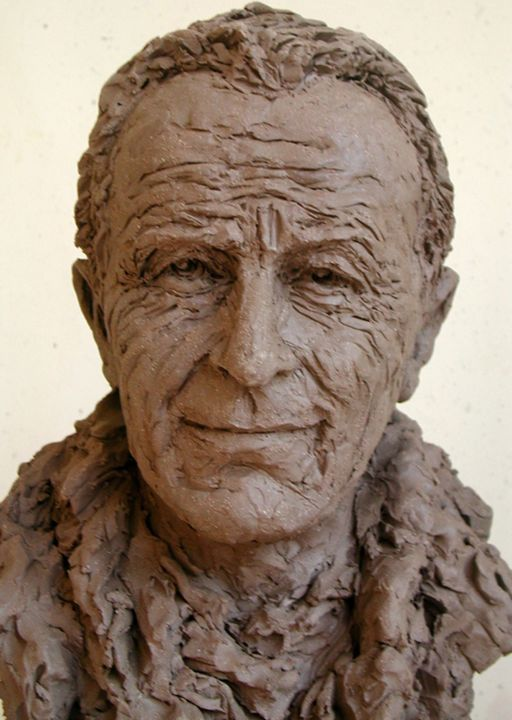 Paul-Emile VICTOR - Sculpture,  15x10.2 in, ©2000 by KAINOU -                                                                                                                                                                                                                                                                                                                                                                                                          Figurative, figurative-594, Portraits, Paul-Emile Victor, Portrait Paul-Emile Victor, Buste Paul-Emile Victor, Clay bust, Clay portrait
