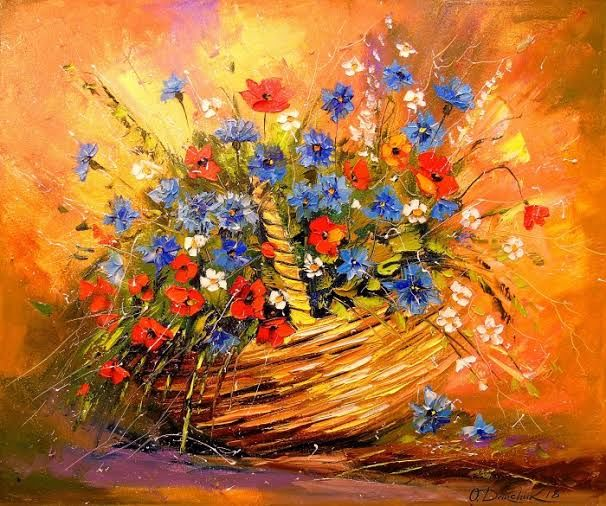 """Painting titled """"Flowers in the bask…"""" by Faria Begam Faria Begam, Original Art, Watercolor"""
