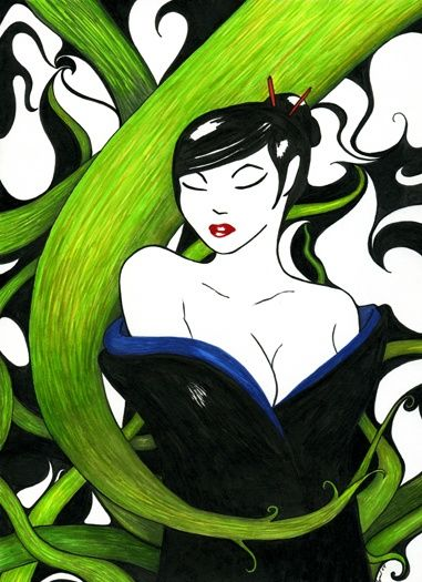 """Drawing titled """"Tangled"""" by Kalamate, Original Art, Other"""
