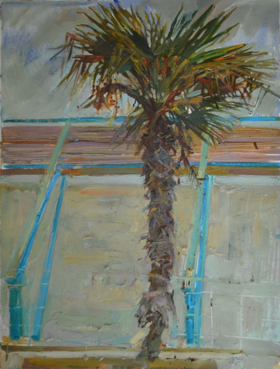 South tree - Painting,  80x60x2 cm ©2012 by Svetlana Kalinicheva -                                                                                                                                                                                                            Documentary, Figurative Art, Illustration, Impressionism, Realism, Contemporary painting, Expressionism, Canvas, Architecture, Botanic, Seasons, Time, Seascape, Landscape, Travel, palm, sea, landscape, plein air, color, tree, soft, crimea, oil, painting, interior, interior design, autumn, colorful, fineart