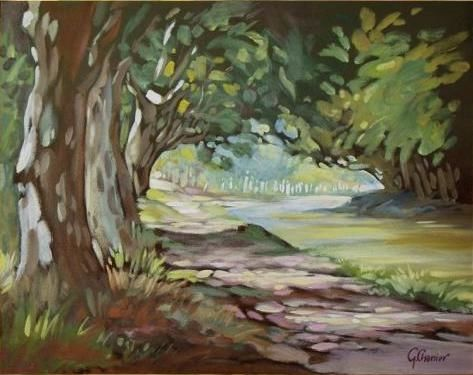 Canal du Midi - Painting,  38x55 cm ©2008 by Pascal CHANIER -