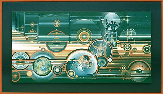ANTRE ATOMES & NEBULEUSES - Painting,  200x100 cm ©2008 by Pascal CHANIER -