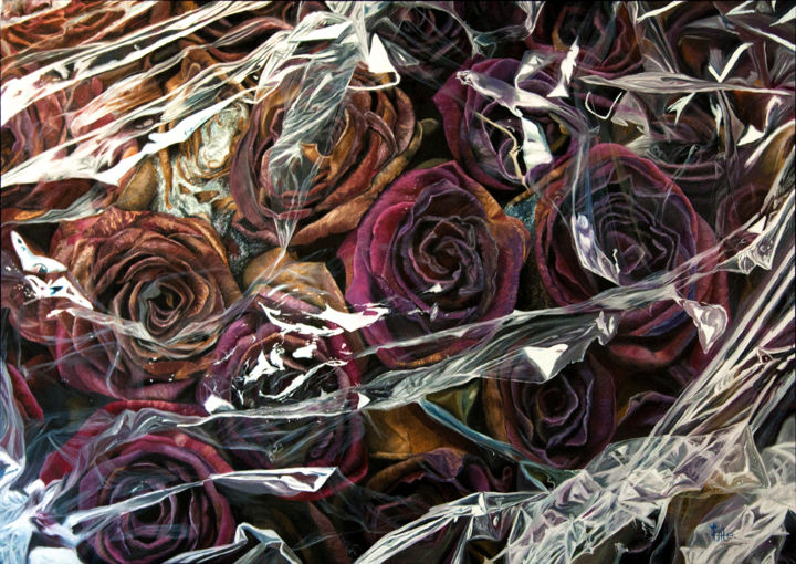 """Oil painting """"Cellophane Withering"""" - Pittura,  35,4x51,2x0,8 in, ©2017 da Kate Kamington -                                                                                                                                                                                                                                                                                                                                                                                                          Hyperrealism, hyperrealism-612, Fiore, plastic, hyperrealism, roses, gift, flowers"""