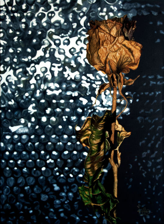 """Oil painting """"Gold x3"""" - © 2018 hyperrealism, roses, gold Opere d'arte online"""
