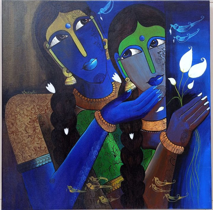 """Painting titled """"Sibling love"""" by Sukanthi Kp, Original Art, Acrylic"""