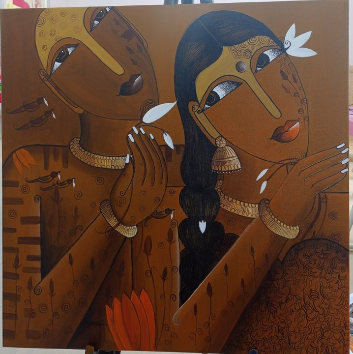 """Painting titled """"Floral Tale"""" by Sukanthi Kp, Original Art, Acrylic Mounted on Stretcher frame"""