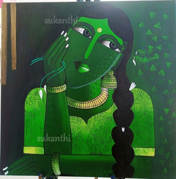 """Painting titled """"Day dreaming"""" by Sukanthi Kp, Original Art, Acrylic Mounted on Stretcher frame"""