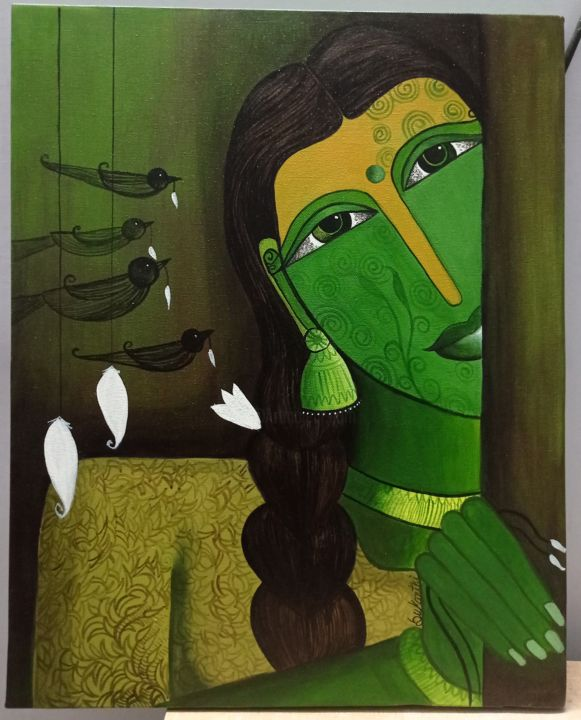 """Painting titled """"Beauty of woman"""" by Sukanthi Kp, Original Art, Acrylic Mounted on Stretcher frame"""