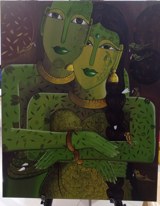 """Painting titled """"Tender love"""" by Sukanthi Kp, Original Art, Acrylic Mounted on Stretcher frame"""