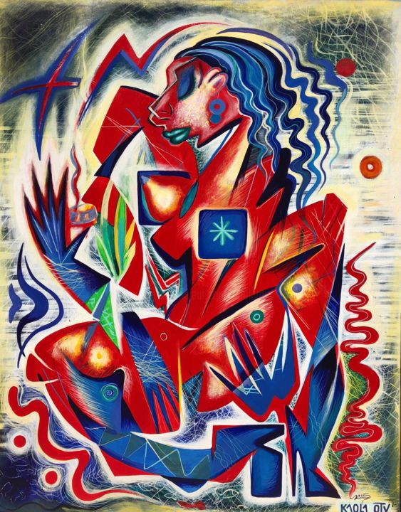 Red cubist woman - Painting,  39.4x31.5 in, ©2015 by Kaola Oty -                                                                                                                                                                                                                      Cubism, cubism-582, Angels, Women