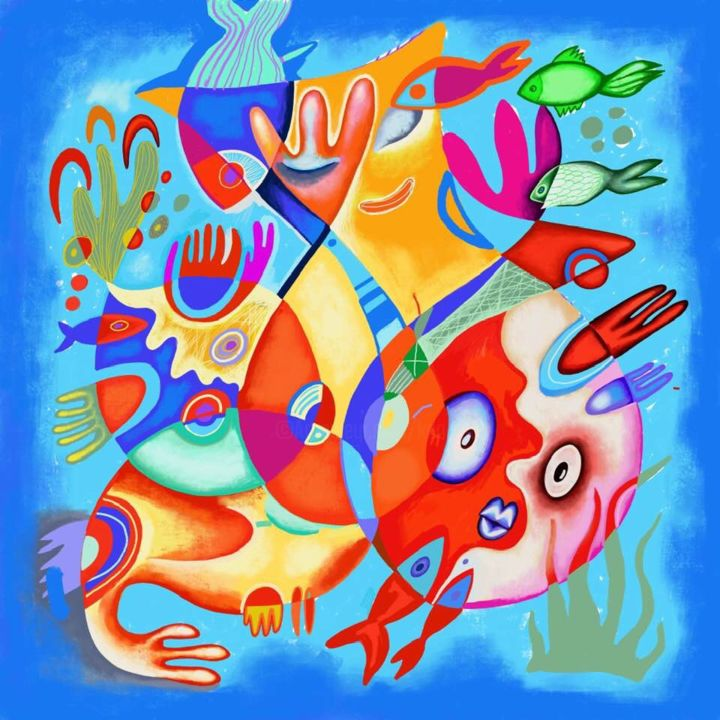 Seascape - Painting,  39.4x39.4 in ©2018 by Kaola Oty -                                            Abstract Expressionism, Seascape, sea fish summer, fish, summer