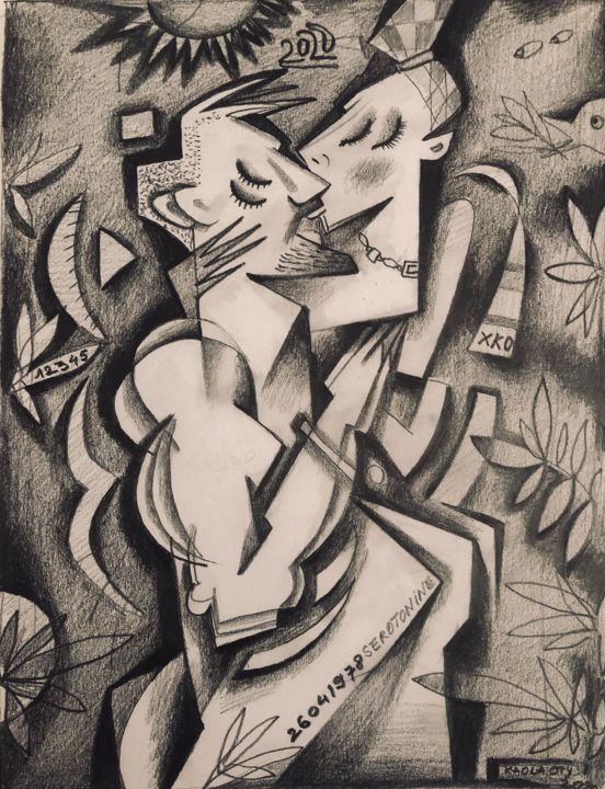 """Drawing titled """"Lovers in love"""" by Kaola Oty, Original Art, Pencil"""