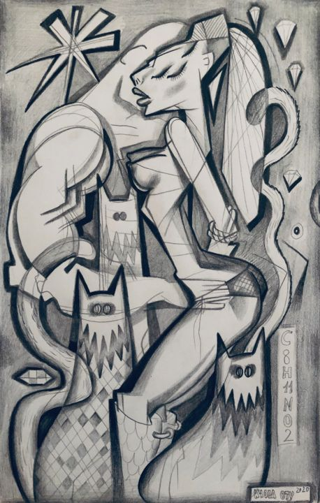 """Drawing titled """"Couple"""" by Kaola Oty, Original Art, Pencil"""