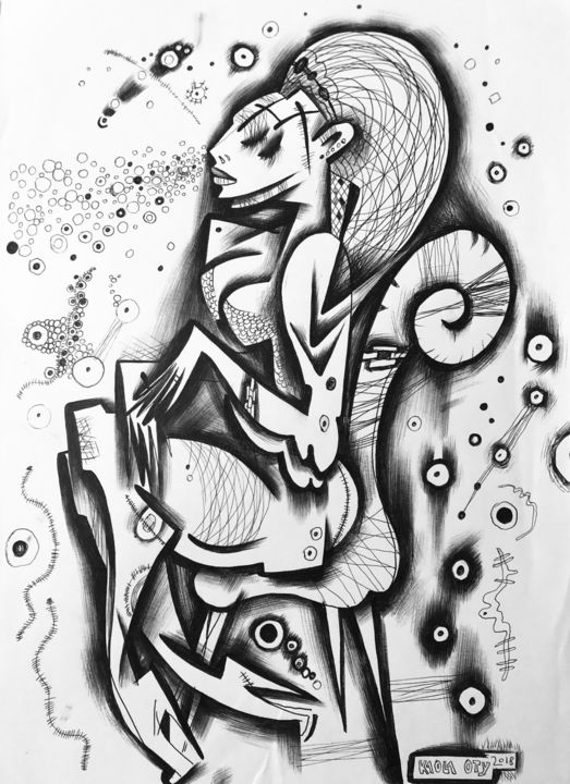 """Drawing titled """"Lady X on chair"""" by Kaola Oty, Original Art, Ink"""