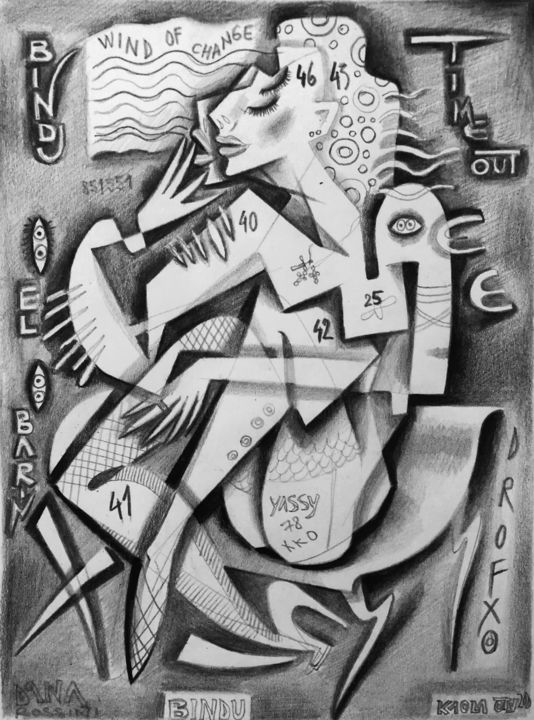 """Drawing titled """"Wind of change"""" by Kaola Oty, Original Art, Pencil"""