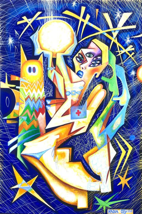 The Moon is Mine - Painting,  35.4x23.6x1 in, ©2020 by Kaola Oty -                                                                                                                                                                                                                                                                                                                                                                                                                                                                                                                                                                                          Cubism, cubism-582, Aerial, Women, cubism, cubist, woman, moon, star, stars, night, nude