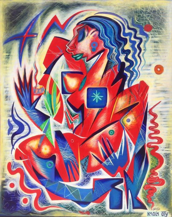 Woman with the candle ( in colors of France flag ) - Peinture,  39,4x31,5x1 in, ©2015 par Kaola Oty -                                                                                                                                                                                                                                                                                                                                                                                                                                                                                                  Cubism, cubism-582, Femmes, cubism, France, flag, red, blue, white, candle