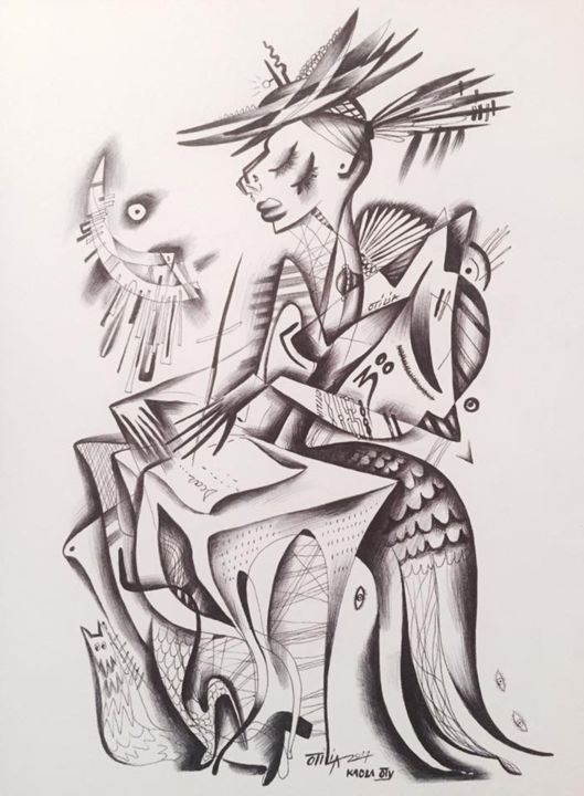 """Drawing titled """"The letter of goodb…"""" by Kaola Oty, Original Art, Pencil"""