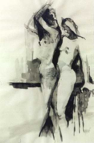 """Painting titled """"Female Nudes"""" by Kal Opre, Original Art, Oil"""