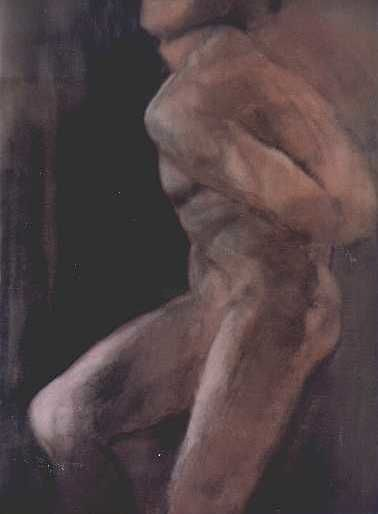 """Painting titled """"Male Nude"""" by Kal Opre, Original Art, Oil"""
