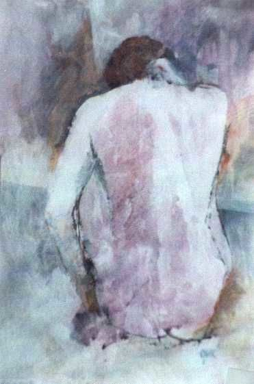 """Painting titled """"Seated Nude"""" by Kal Opre, Original Art, Oil"""