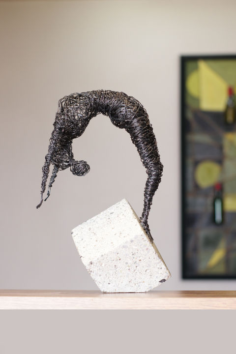 """Sculpture titled """"Playing with cube (…"""" by Karen Axikyan, Original Art, Concrete"""