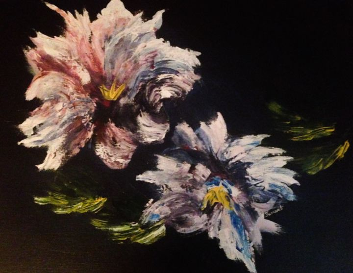 """Painting titled """"Fantasy Flowers"""" by Ferrand, Original Art, Acrylic"""