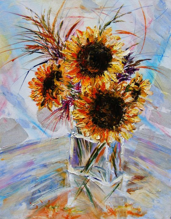 """Painting titled """"Sunflowers in glass"""" by Ferrand, Original Art, Acrylic"""