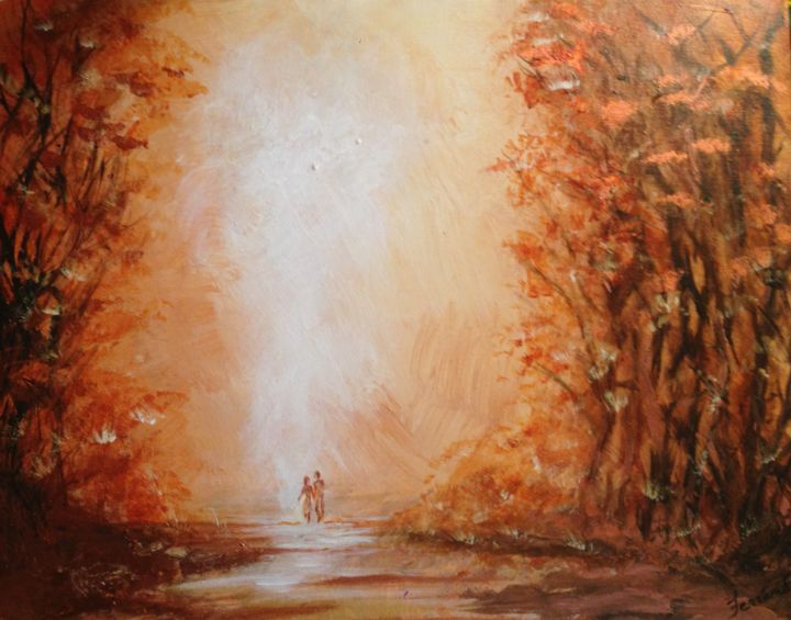 """Painting titled """"Into The Light"""" by Ferrand, Original Art, Acrylic"""