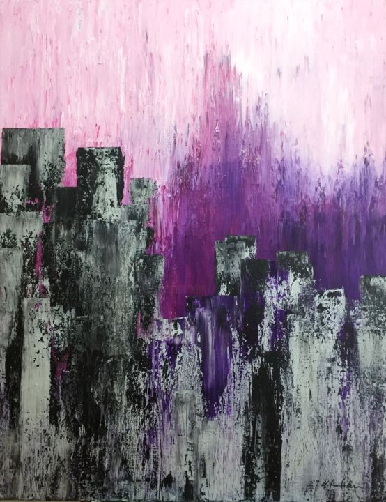 Purple Rain - Painting,  90x70x1.8 cm ©2017 by K. Amtmann -                                                                                                                                Abstract Art, Abstract Expressionism, Art Deco, Documentary, Abstract Art, Architecture, Dark-Fantasy, Performing Arts, Colors, Apokalytic, Apokalypse, Endtime, Revelation, Untergang, Phantasie, Phantasy, triulation, acrylic, acrylics, painting, paintings, bigpainting, big painting, great, xxl, austrian, Österreich, schwarz, grau, black, gray, rosa, rose, noir, pourpre, violet, fallout, retombées, Trauerweide, saule pleureur, weeping willow, Wohnbereich, office, business, skyline, horizonte, ligne d'horizon, Archtektur, interieur, geometric, geometrisch, contrast, Kontrast, particular, structure, impact, city, Design, original, originalart, original art, aussagekräftig, besonders, new, newart, new art, newpainting, new painting, extravagant, individual, salmon, tangy, interieurart, amazing, wonderful, deep, deepness, struktur, movement, canvas, emotion, emotional, Hoffnung, espoir, Geschenk, gift, подарок, regalo, conceptual, conceptual art, conceptualart, cool, cool art, coolart, composition, expressive, dark, hope, einzigartig, particuarly, unique, feeling, feelings, Licht, light, lightning, lumière, brillant, remuer, decorative, forest, forrest, Wald, Baum, tree, trees, Stadt, artistic, abstrakte landschaft, contemporary, contemporaryart, contemporary art, emergency, emergencyart, emergency art, Peinture, warm, worm, home, wallart, wall art, magic, Magie, interessting, entspannend, relax, fineart, modernart, austrianart, castle, tower, Wolkenkratzer, gratte-ciel, skyscraper, nuclear, pluie atomique, atomic rain, atomic, zukunft, future, avenir, düster, triste, sad, downfall, caída, futuro, toekomst, nucleair ongeval, accident nucléaire, nuclear accident, paarse regen, pluie mauve, gris, pink, Endzeit, Phantasielandschaft, paysage fantastique, imagination, surreal, sureal, ville, maisons, ligne, catastrophe, ramp, Last Days, derniers Jours, collection, exposition, gallerie, gallery, geometrical, lines, art abstrait, geometrical painting, geometrical art, wallartdecor, original abstract art, original abstract painting, wall art abstract decor, wall art abstraction, unikat, Stimmung, cityskyline, apocalypse