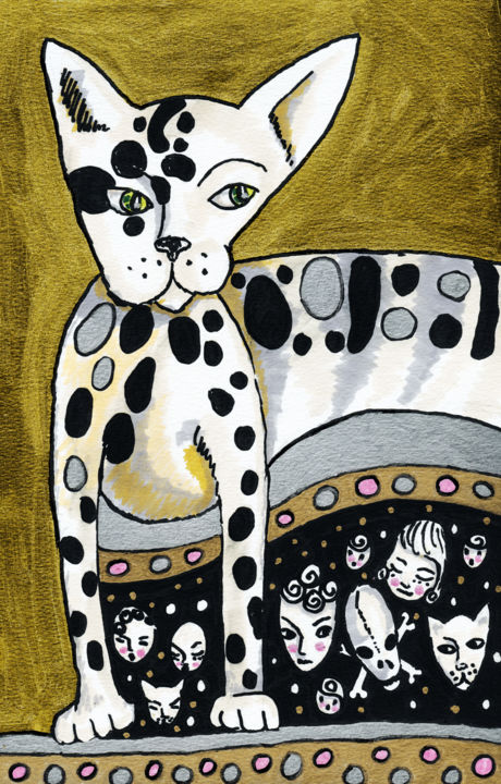 Gold Cat - Drawing ©2015 by Karine Garelli -