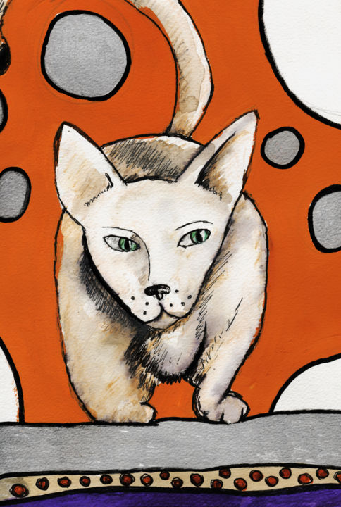 Chat couche - Drawing, ©2015 by Karine Garelli -