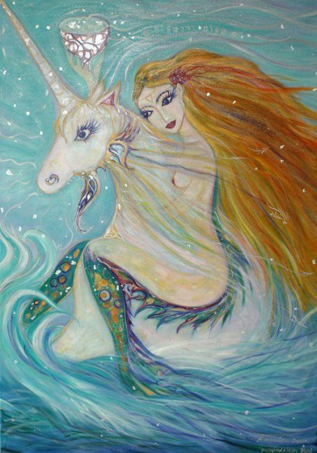 A Mon Seul Desir - Painting,  100x70 cm ©2006 by Karisma -            peace love unicorn woman oil blue