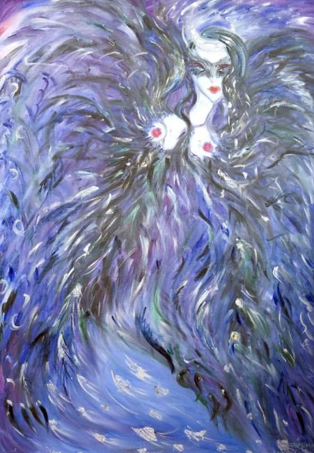 Sirin - Painting,  100x70 cm ©2008 by Karisma -            woman, bird, russian, folk, magic, sun, moon, oil, gold, blue, silver, divine feminine erotic sensual