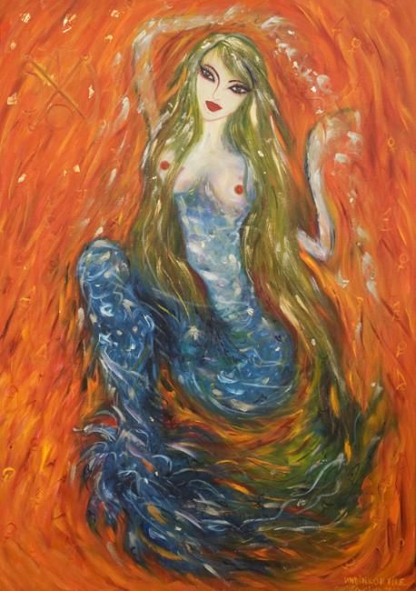 Undine on Fire - Painting,  39.4x27.6 in, ©2008 by Karisma -                                                              woman undine mermaid water fire red element ying yang goddess divine feminine