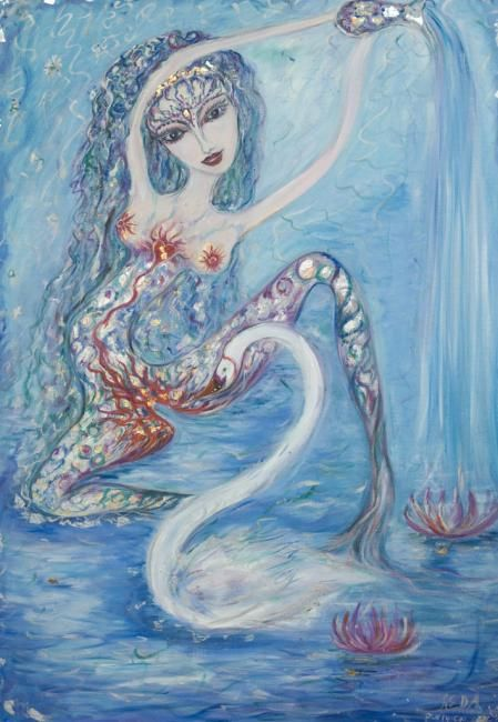 Leda - Painting,  39.4x27.6 in, ©2007 by Karisma -                                                              leda king queen goddess zeus troy helen woman female swan water blue oil painting talismanic esoteric magic myth mythology
