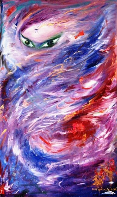 Fata Morgana - Painting,  100x60 cm ©2008 by Karisma -                            Abstract Expressionism, talisman celtic goddess fairy faery queen morgana morgan morgaine arthur le fey fairy art painting oil moon wicca witch
