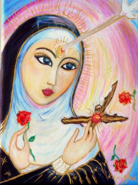 Santa Rita - Painting,  7.9x5.9 in, ©2009 by Karisma -                                                              Santa Rita saint cross rose