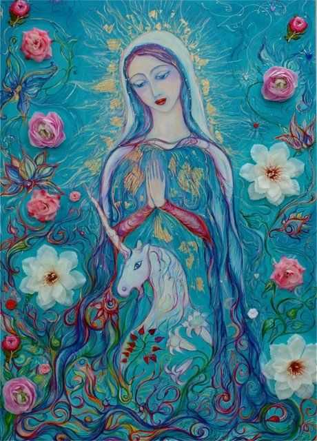 Mother of Unicorns - Painting,  39.4x31.5 in, ©2011 by Karisma -                                                                                                                                                                                                                                                                                                                      Figurative, figurative-594, Canvas, Fabric, Fantasy, unicorn
