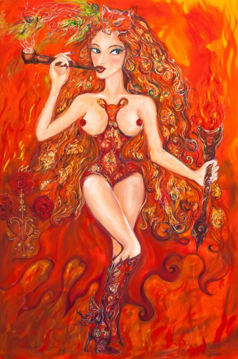 rose-of-the-temple-of-fire.jpg - Painting ©2013 by Karisma -